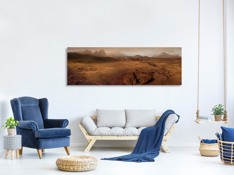 Panoramic Canvas Print Volcanic Landscape In The Morning Fog