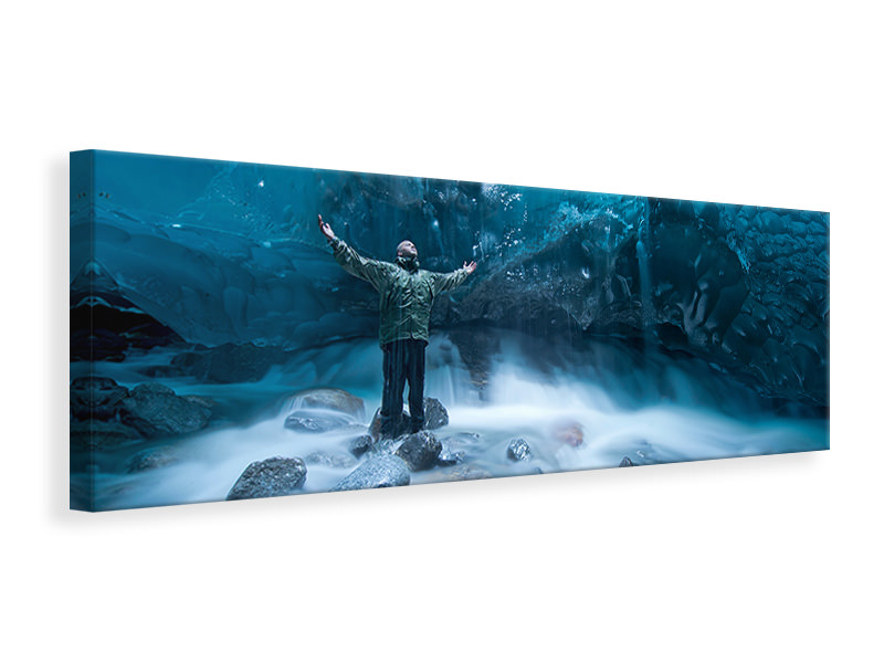 Stampa su tela Panoramica Self Portrait Under A Glacier