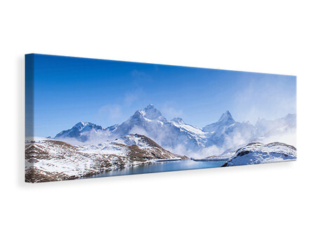 Panoramic Canvas Print Sundeck At The Swiss Mountain Lake