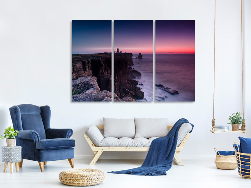 3 Piece Canvas Print The lighthouse at dusk