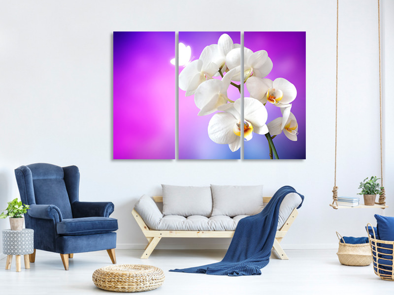 3 Piece Canvas Print Flower Power Orchid
