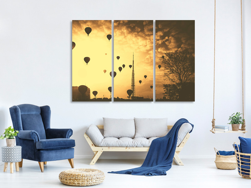 3 Piece Canvas Print Many hot air balloons