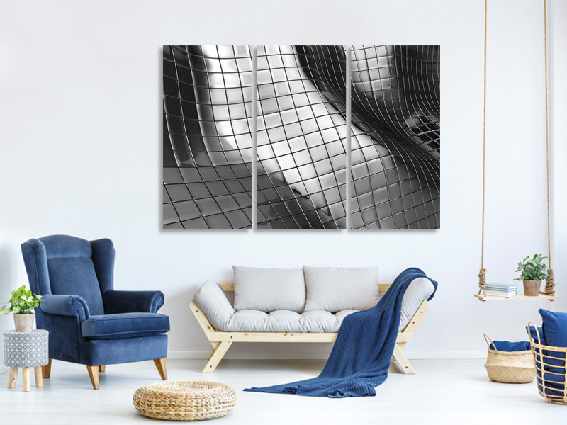 3 Piece Canvas Print Abstract Steel