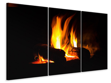 3 Piece Canvas Print The Fireplace