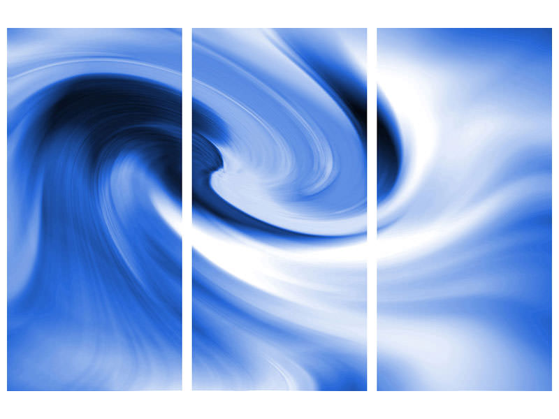 3 Piece Canvas Print Abstract Blue Wave