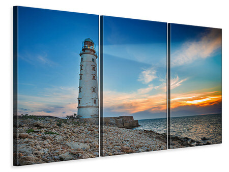 3 Piece Canvas Print Sunset At The Lighthouse
