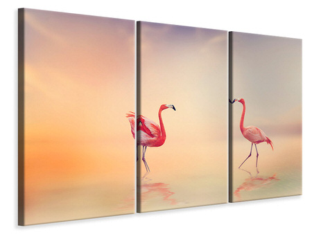 3 Piece Canvas Print Romantic Flamingos