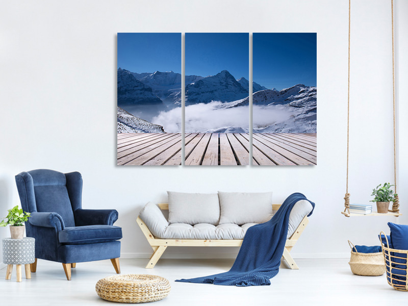 3 Piece Canvas Print Sun Terrace In The Swiss Alps