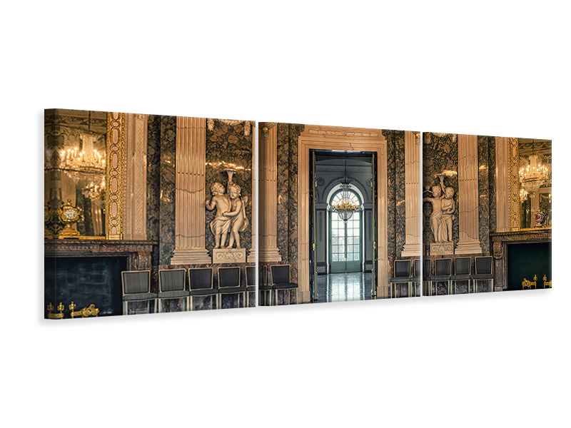 Panoramic 3 Piece Canvas Print Baroque hall