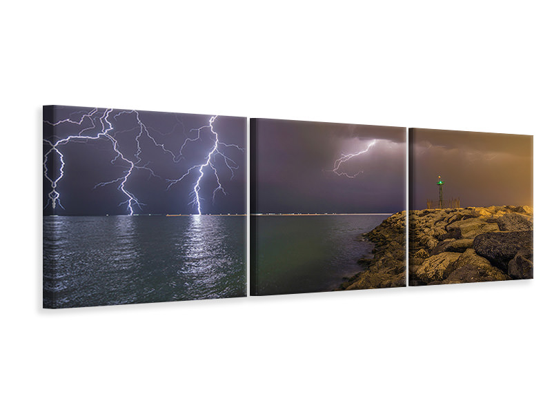 Panoramic 3 Piece Canvas Print When Lightning Strikes