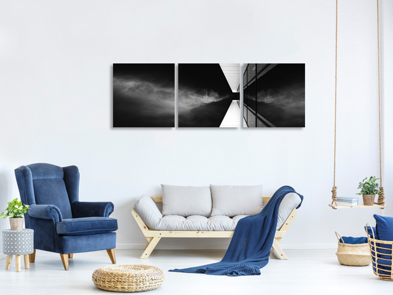 Panoramic 3 Piece Canvas Print Cloud Attack