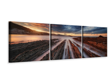 Panoramic 3 Piece Canvas Print Zumaia Flysch 6