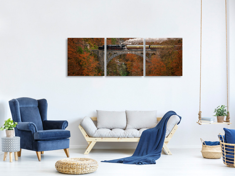 Panoramic 3 Piece Canvas Print Museum Train