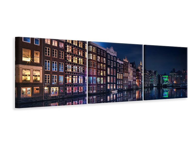 Panorama Leinwandbild 3-teilig Amsterdam Windows Colors