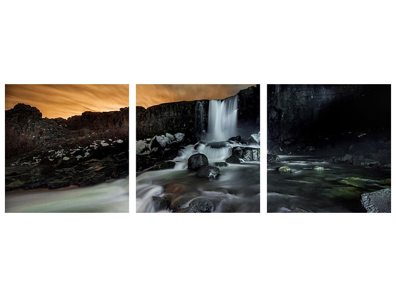 Panoramic 3 Piece Canvas Print Iceland A