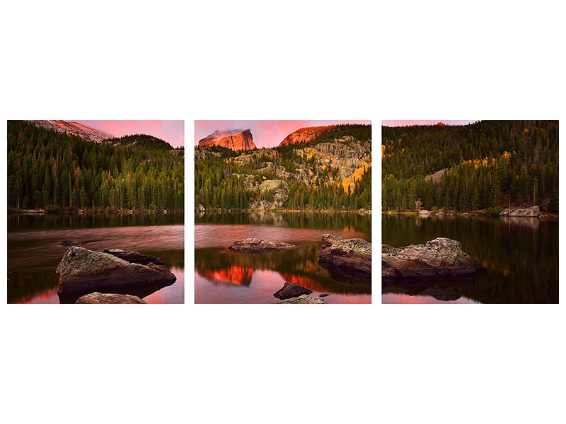 Stampa su tela 3 pezzi panoramica Bear Lake Sunrise
