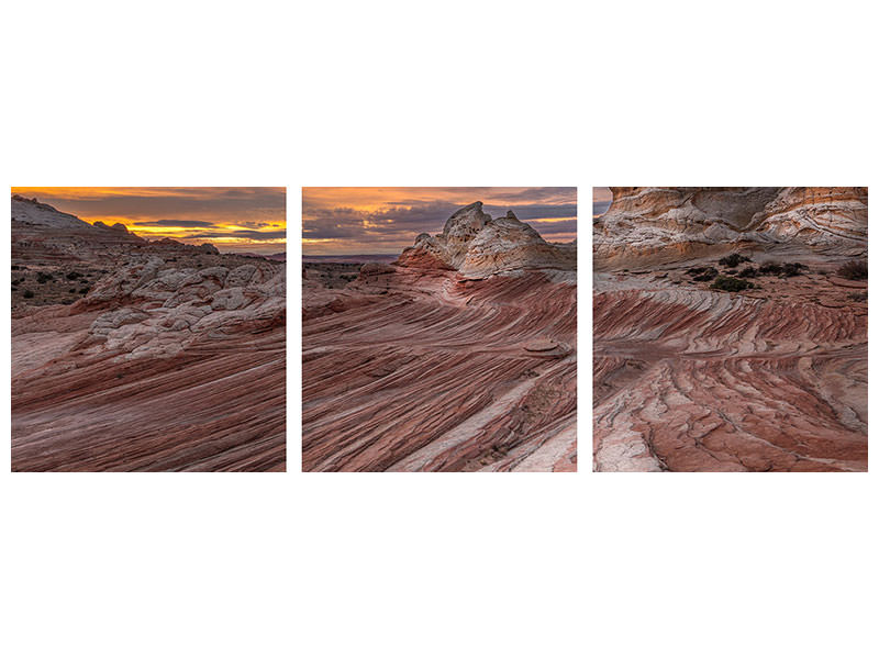 Panoramic 3 Piece Canvas Print Last Light At White Pocket