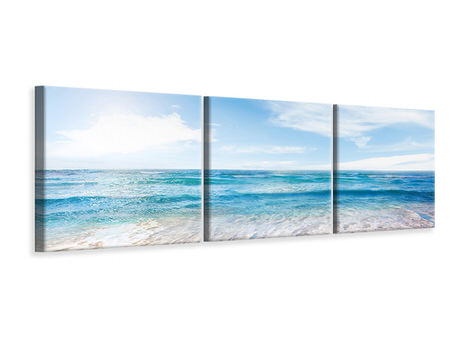 Panoramic 3 Piece Canvas Print Waves In The Sand