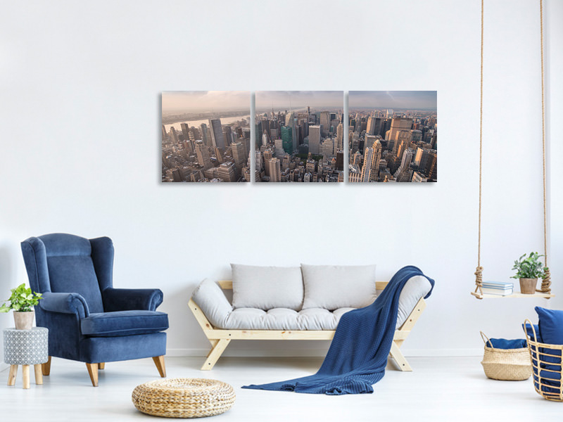 Panoramic 3 Piece Canvas Print Manhattan