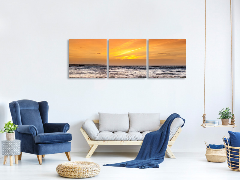 Panoramic 3 Piece Canvas Print Lake With Sunset