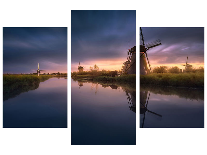 Modern 3 Piece Canvas Print Kinderdijk Windmills