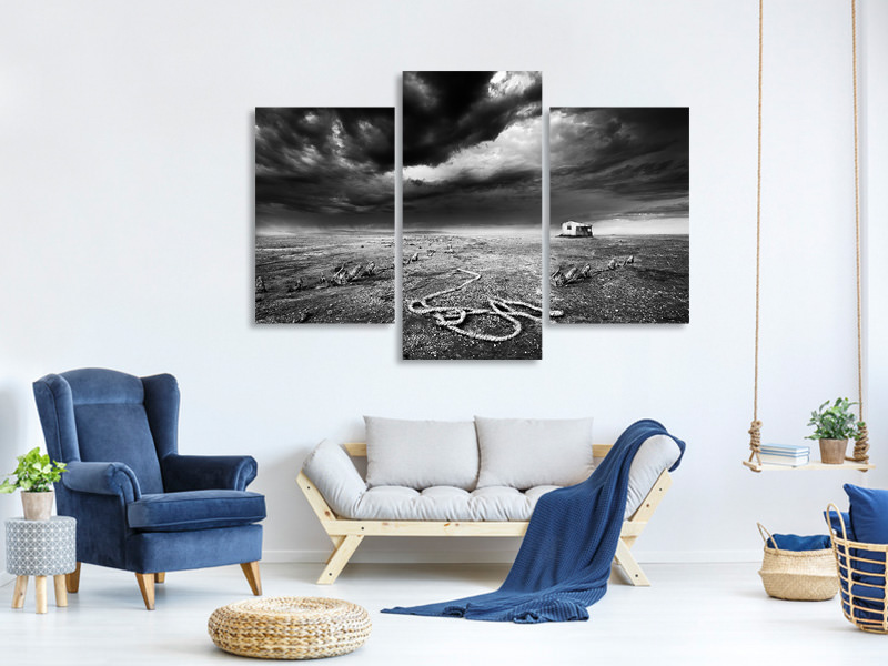 Modern 3 Piece Canvas Print Abandoned