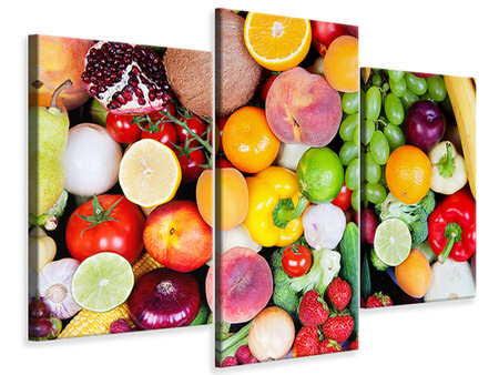 Modern 3 Piece Canvas Print Fresh Fruit
