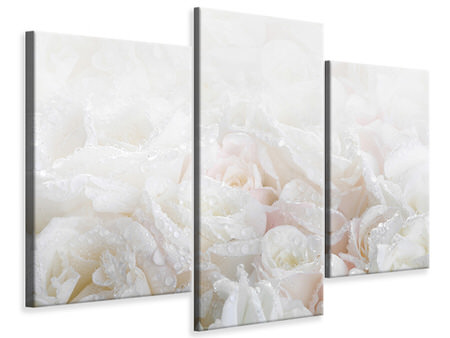 Modern 3 Piece Canvas Print White Roses In The Morning Dew