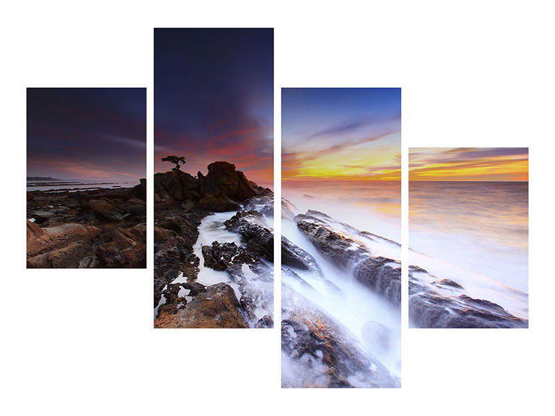Modern 4 Piece Canvas Print Natural force water