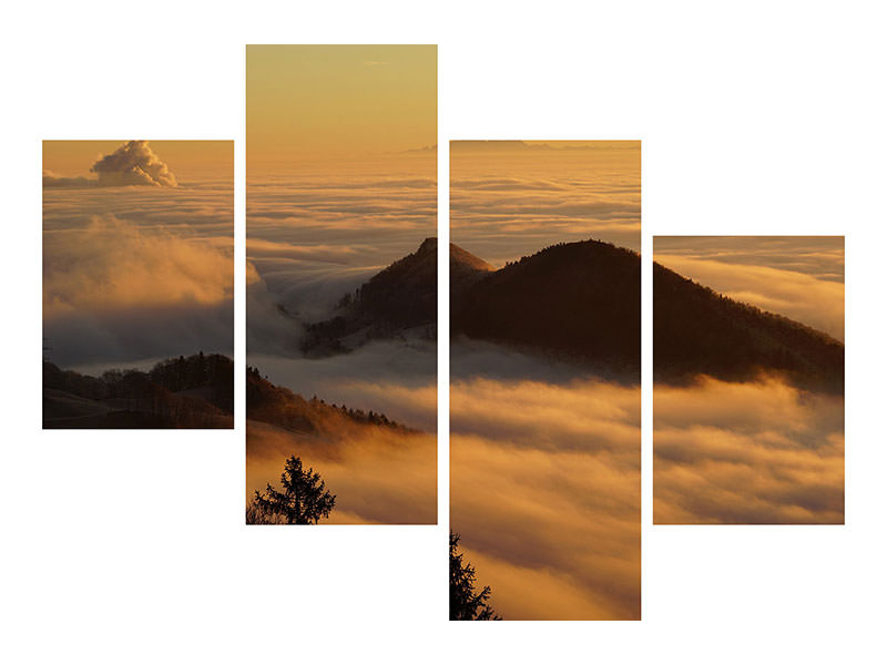 Modern 4 Piece Canvas Print Nebulous in the mountains