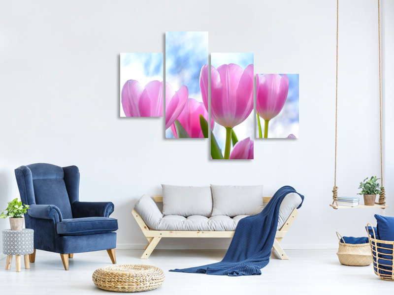 Modern 4 Piece Canvas Print Tulips in nature
