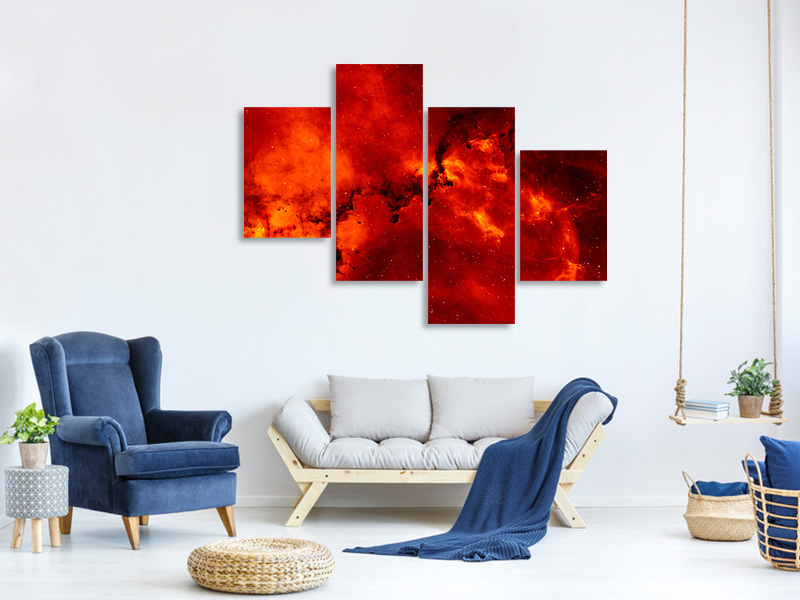 Modern 4 Piece Canvas Print Red starry sky