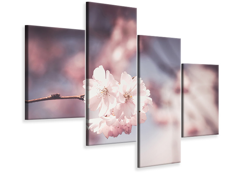 Modern 4 Piece Canvas Print Flower XL