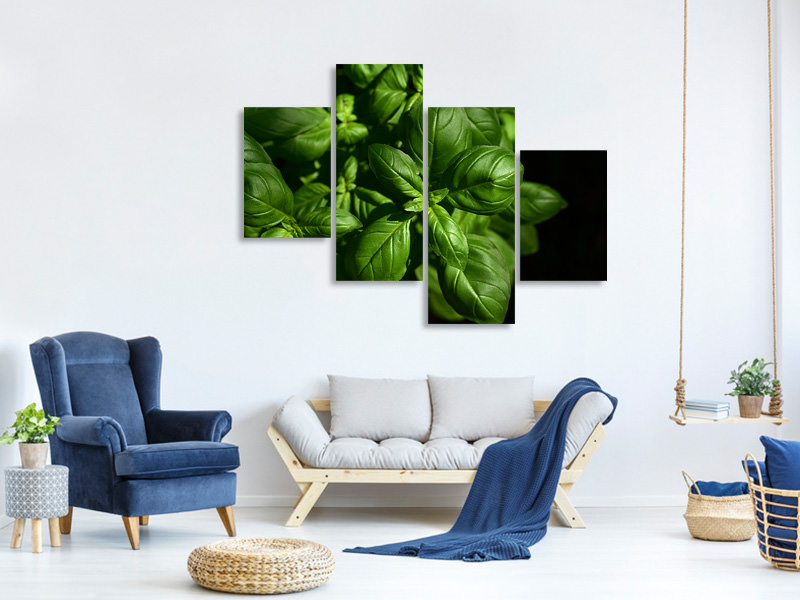 Modern 4 Piece Canvas Print Basil in XL