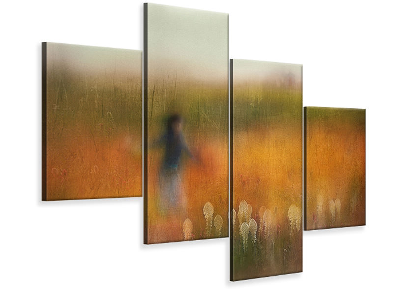 Modern 4 Piece Canvas Print A Girl And Bear Grass