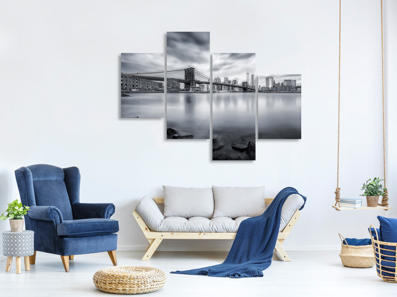Tableau sur Toile en 4 parties moderne Brooklyn Bridge