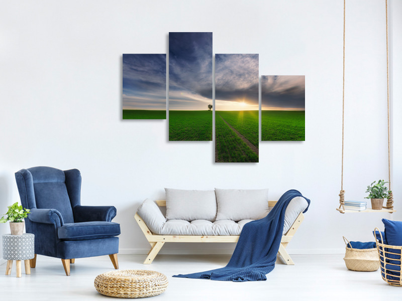 Tableau sur Toile en 4 parties moderne Loner In The Sun