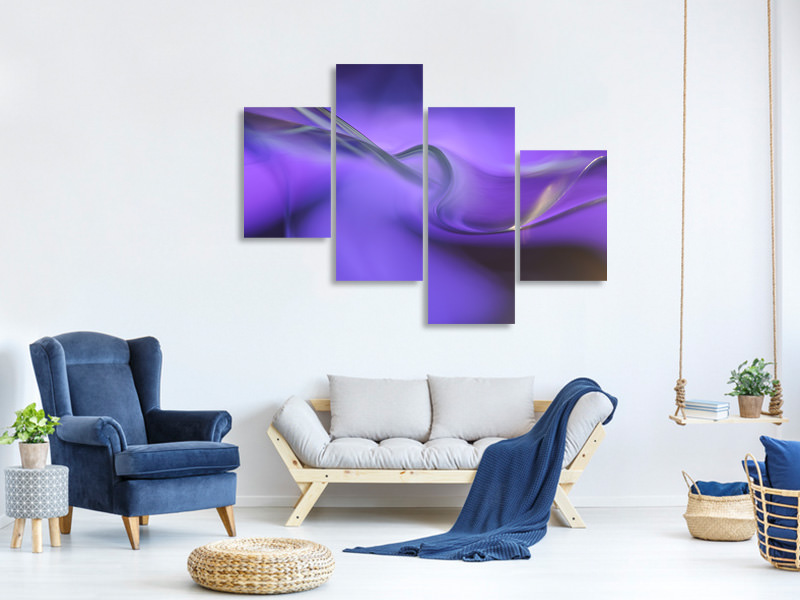 Modern 4 Piece Canvas Print Shapes Of Purple