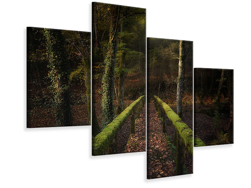 Tableau sur Toile en 4 parties moderne The Way To The Forest