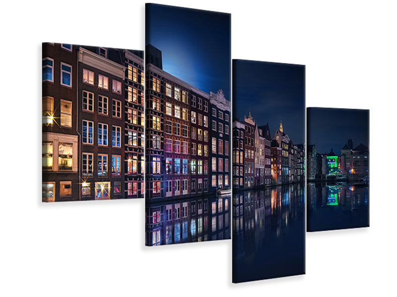 Tableau sur Toile en 4 parties moderne Amsterdam Windows Colors