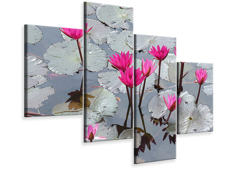 Modern 4 Piece Canvas Print Jump In The Lily Pond