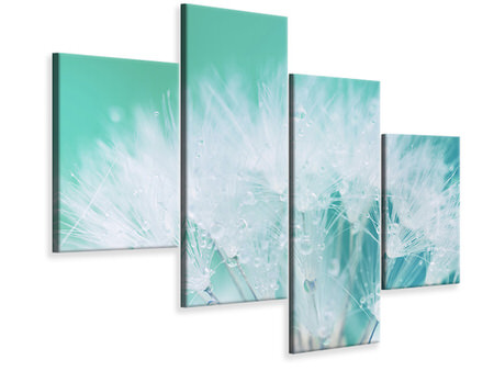 Modern 4 Piece Canvas Print Close Up Dandelion In Morning Dew
