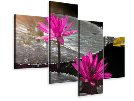 Modern 4 Piece Canvas Print Water Lily In The Morning Dew