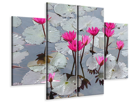 4 Piece Canvas Print Jump In The Lily Pond