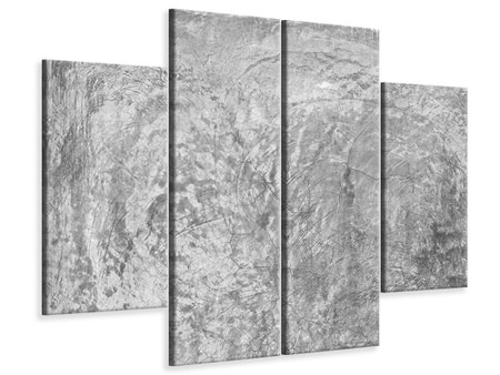 4 Piece Canvas Print Wipe Technique In Gray