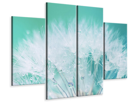 4 Piece Canvas Print Close Up Dandelion In Morning Dew