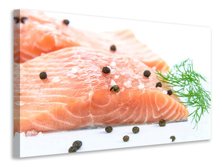 Canvas print Raw salmon