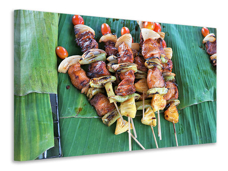 Canvas print Grilled meat kebab