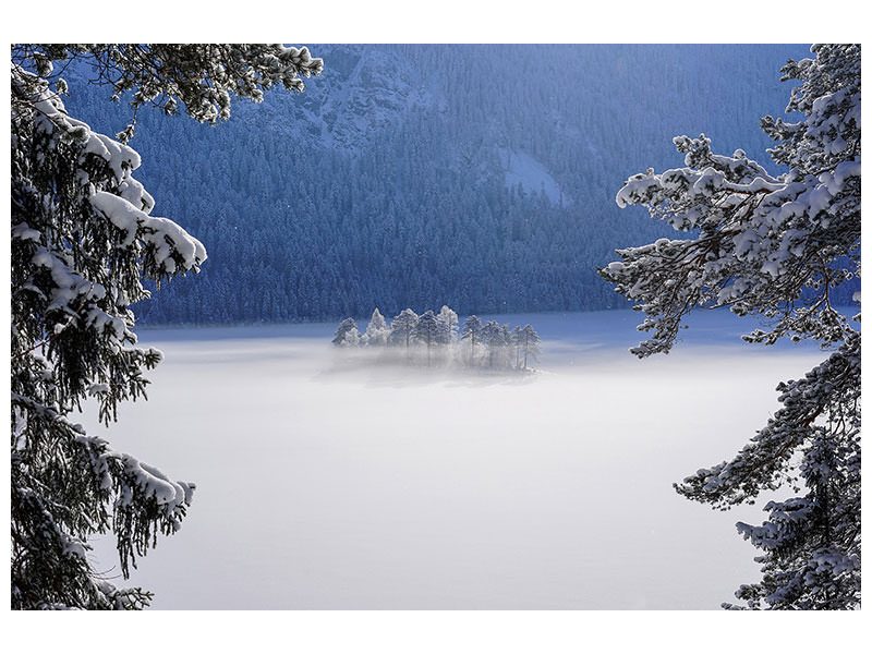 Canvas print Fog Over Frozen Lake