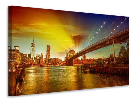 Canvas print Skyline Brooklyn Bridge NY